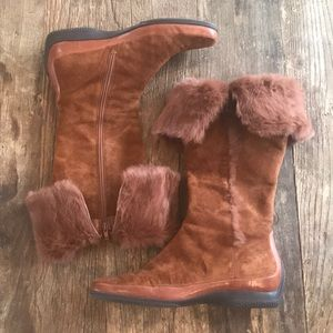 Eitienne Aigner Rava Suede Leather Faux Fur Boots